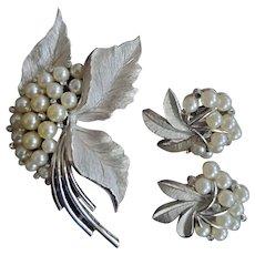 Trifari Silver Tone Pearl Rhinestone Leaf Spray Pin and Earrings