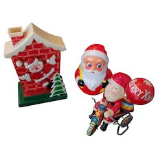 Lot of 3 Vintage Santa Christmas Items - Wind Up, Music Box, Roly Poly
