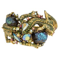 Rare Vintage 1950's  Signed HAR Gold Tone Green Enameled Jeweled Dragon Clamper Bracelet