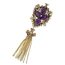 Joseff of Hollywood Fabulous 4 Stone Tassel Brooch