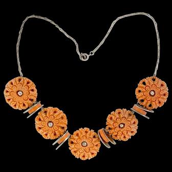 1930's Jakob Bengel Unusual Peach Galalith Medallion Necklace