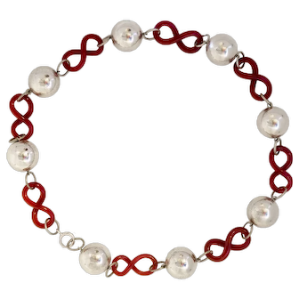 Early Jakob Bengel Chrome and Glass Necklace