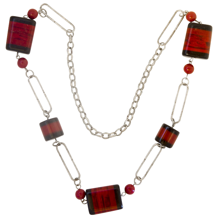 35cbf5273 Jakob Bengel Galalith and Chrome Paperclip Links Necklace : Lovely and  Amazing | Ruby Lane