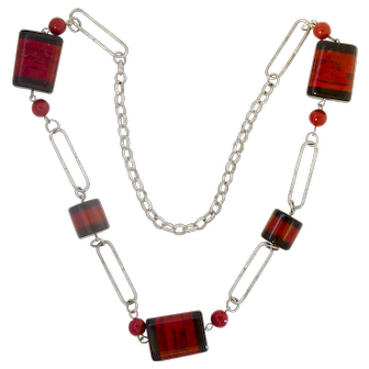 Jakob Bengel Galalith and Chrome Paperclip Links Necklace