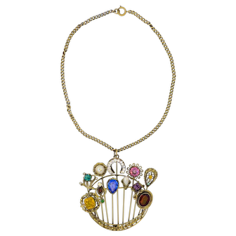 Joseff of Hollywood Incredible Charm brooch WITH CHAIN