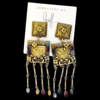 Astounding Joseff of Hollywood Pagoda Earrings
