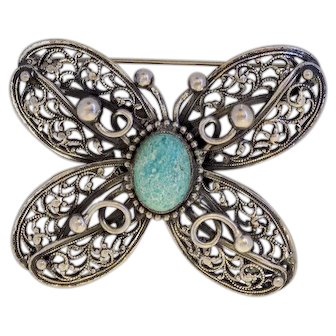 """Maurice Hollywood """"RARE"""" Butterfly Figural Brooch"""