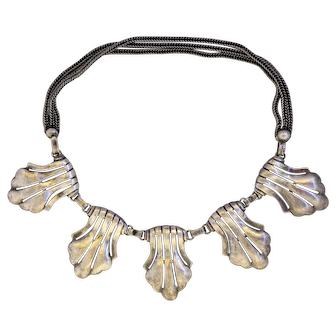 Rare Vintage Art Deco Maurice Hollywood Silver Plate Collar Necklace
