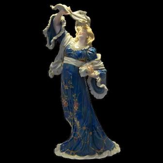 German Muller Art Nouveau Porcelain Lady Figurine