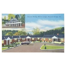 1940s Postcard Natural Bridge Motor Lodge VA Linen Unused
