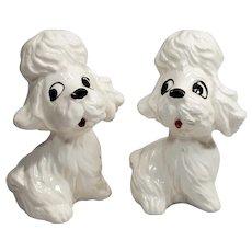 Vintage Salt Pepper Shakers Poodles Dogs Hand Painted Japan