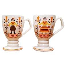 Vintage Napcoware PA Dutch Scandinavian Mom Pop Coffee Mugs 60s Japan 8oz