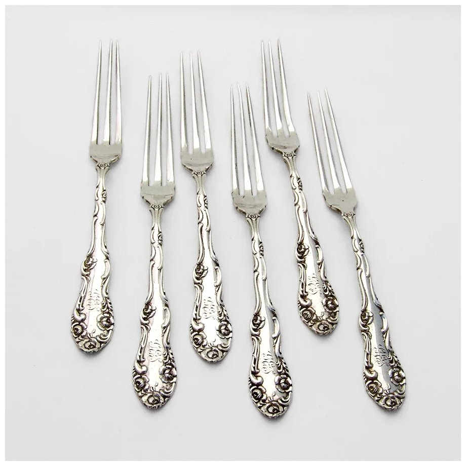 OLD ENGLISH 1892 by Towle Sterling Silver Forks Set of 4 Forks Mono