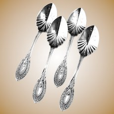 Aesthetic Style Ice Cream Spoons Set Sterling Silver Pat 1874