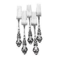 Douvaine 5 Regular Forks Set Unger Bros Sterling Silver Mono