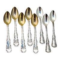 Louis XV 8 Demitasse Spoons Set Ellis Sterling Silver Mono