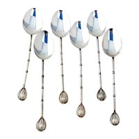 Japanese Demitasse Spoons Set Pearl Finials Sterling Silver Boxed