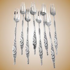 Ornate Seahorse 8 Cocktail Fork Set Whiting Sterling Silver Mono