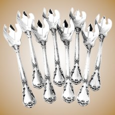 Chantilly Ice Cream Forks Set Gorham Sterling Silver 1950