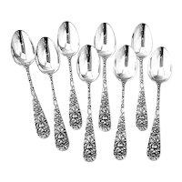 Stieff Rose Demitasse Spoons Set Sterling Silver