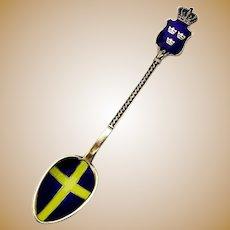 Swedish Flag Souvenir Spoon Enamel Gilt 930 Sterling Silver