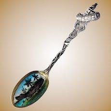 Jacksonville Florida Souvenir Spoon Enamel Bowl Sterling Silver