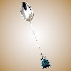 Twist Handle Enamel Jersey Souvenir Spoon Sterling Silver 1901 Birmingham