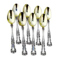 Buttercup Demitasse Spoons Set Gorham Sterling Silver Pat 1900 Mono