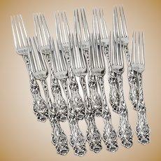 Irian 12 Regular Forks Set Wallace Sterling Silver Pat 1902 Mono
