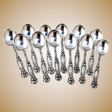 Frontenac 12 Small Chocolate Spoons Set International Sterling Silver Mono