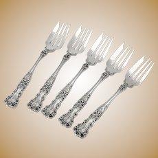 Buttercup Salad Forks Set Gorham Sterling Silver Pat 1900 Mono