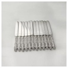Irian 12 Dinner Knives Set Blunt Blades Wallace Sterling Silver 1902 Mono