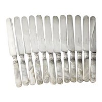 Mother Of Pearl 12 Dinner Knives Set Silverplate Blunt Blades Sterling Silver