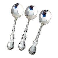 Strasbourg Cream Soup Spoons Set Gorham Sterling Silver Pat 1897