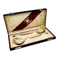 German Gilt Shell Serving Spoons Pair Foehr 800 Standard Silver Boxed