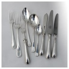 English Feather Edge 9 Piece Place Setting Mappin Webb Sterling Silver