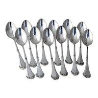 Arts And Crafts 12 Dessert Spoons Set 830 Standard Silver 1927 Denmark