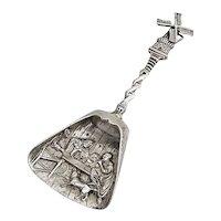 Dutch Scenic Tea Caddy Shovel Spoon Windmill Handle 833 Silver