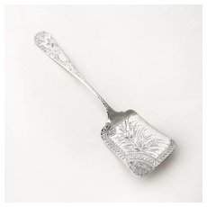 Aesthetic Bright Cut Engraved Floral Server Sterling Silver 1880 Mono ECA