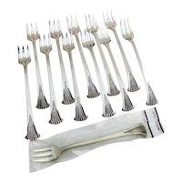 Onslow 12 Cocktail Forks Set Tuttle Sterling Silver 1970