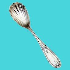 Olive Sugar Shell Spoon Palmers Bachelders Coin Silver 1860 No Mono
