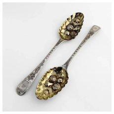 18th Century English Tablespoons Pair Thomas Chawner Sterling Silver Mono M