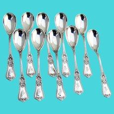 Kensington 10 Egg Spoons Set Gorham Sterling Silver 1893 Mono M
