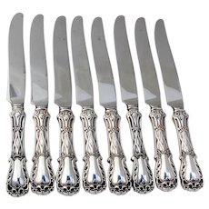 Quadrille 8 Dinner Knives Set New French Blades Kirk Son Sterling Silver 1950