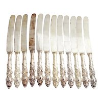 Columbia 12 Dinner Knives Set 1847 Rogers Bros Silverplate Mono M