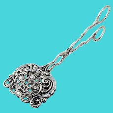 Openwork Rose Scroll Sandwich Pastry Tongs German 835 Standard Silver