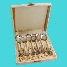 Anitra Demitasse Spoons Set Magnus Aase 830 Standard Silver Norway Boxed