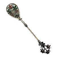 Plique A Jour Enamel Spoon Floral Finial Swedish 830 Silver 1910
