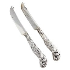 Architectural Fruit Knives Pair Gorham Sterling Silver Crowned Crest