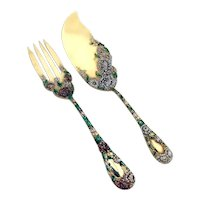 Chrysanthemum Gilt Enamel Fish Serving Set Durgin Sterling Silver 1893